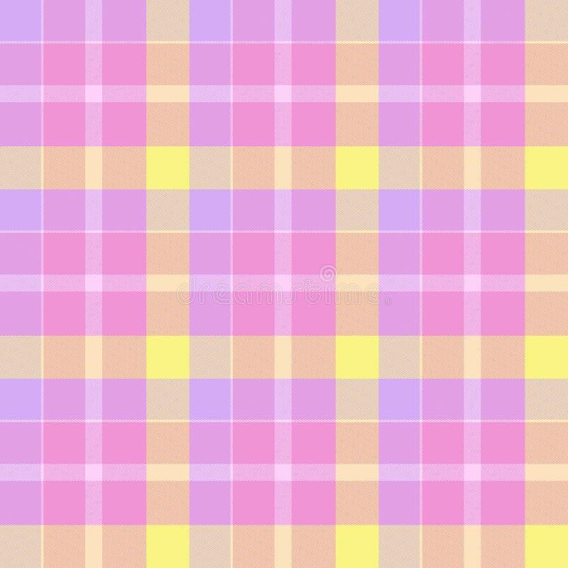 розовый желтый цвет шотландки иллюстрация вектора