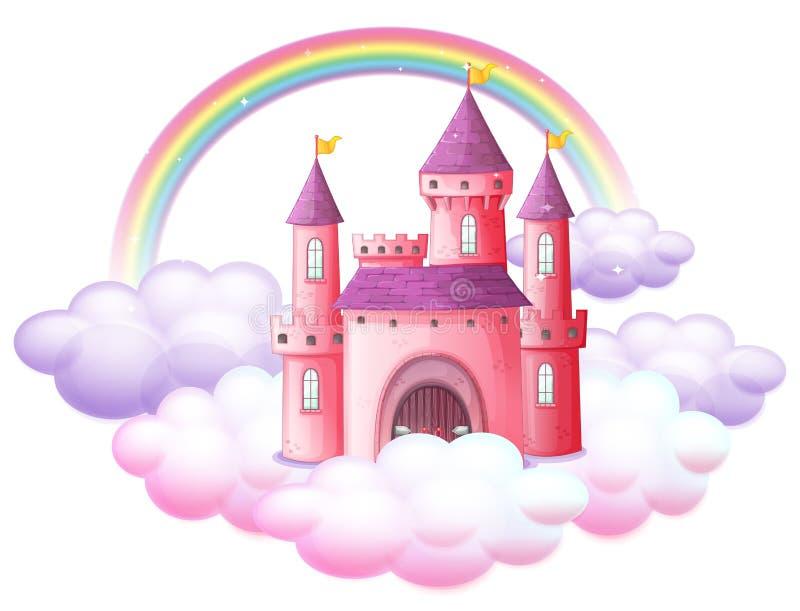 Розовый замок сказки иллюстрация вектора