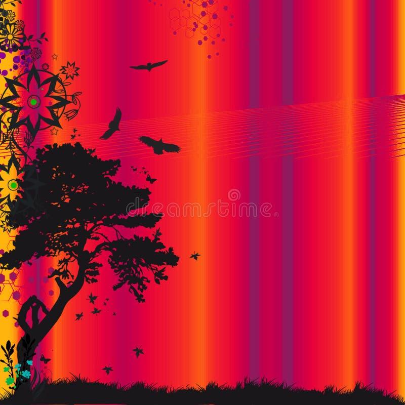 розовый заход солнца иллюстрация вектора