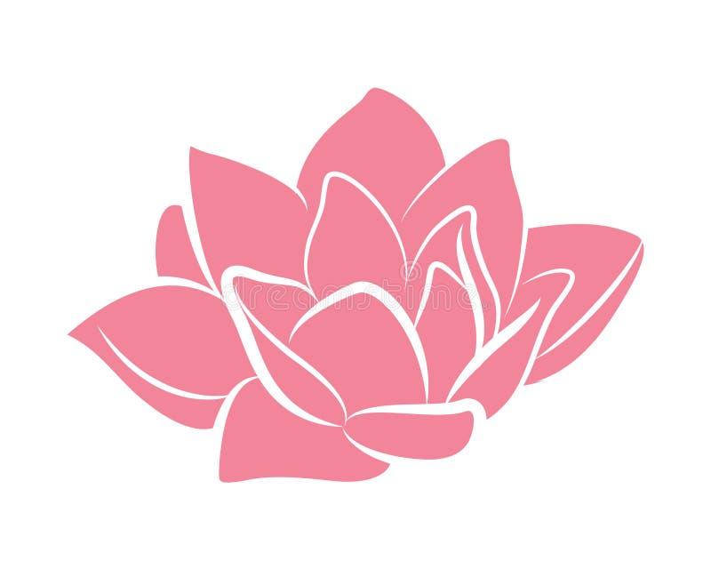 Розовый значок лилии цветка воды лотоса иллюстрация вектора