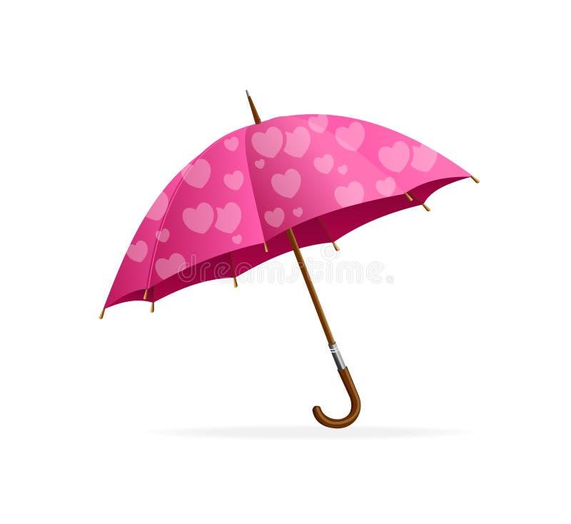 Розовый зонтик сердца иллюстрация штока