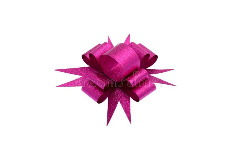 Розовый изолированный смычок ленты стоковые изображения rf