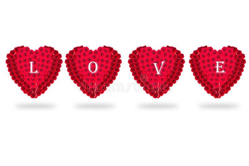 Розовый изолят сердца цветков на белой предпосылке Валентайн L стоковые изображения rf