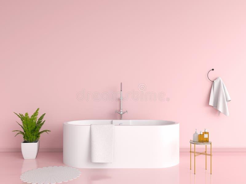 Розовый интерьер ванной комнаты, перевод 3D стоковые фотографии rf