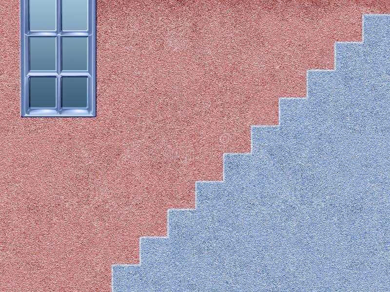 Розовый и голубой дом с лестницами иллюстрация вектора
