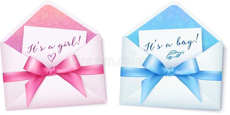 Розовый и голубой детский душ охватывает с смычками иллюстрация штока