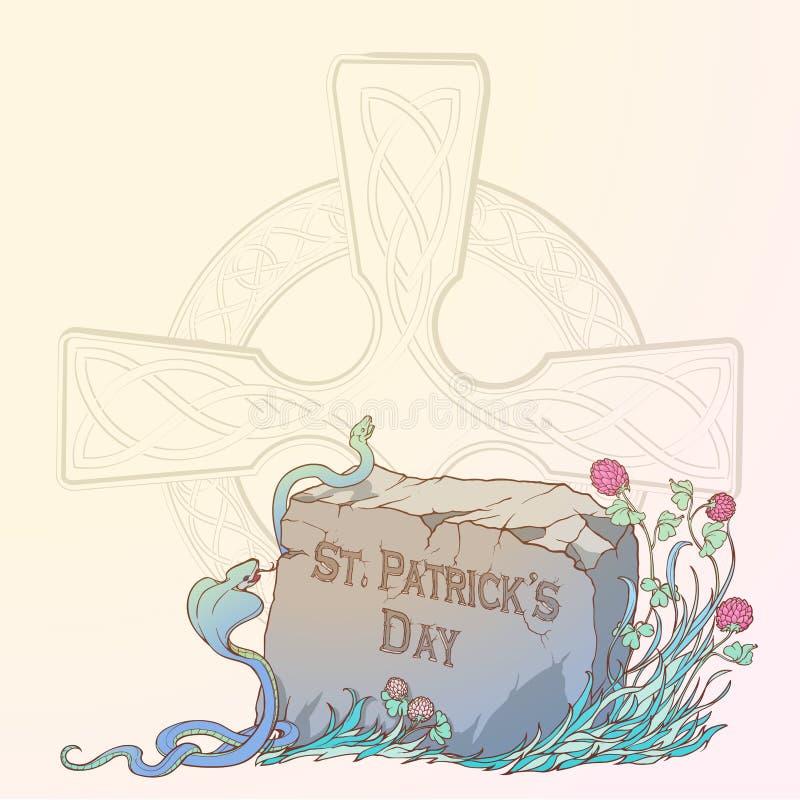 Розовый клевер в цветени, змейках и традиционном кельтском кресте Дизайн дня St. Patrick праздничный иллюстрация штока