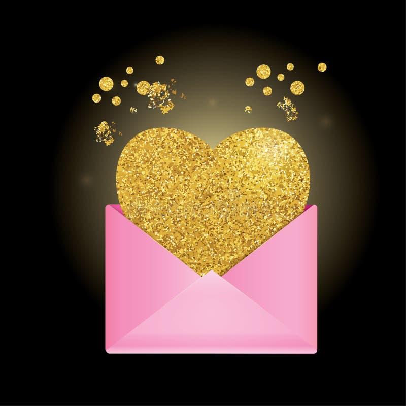 Розовый конверт на черной предпосылке золотистое сердце иллюстрация штока