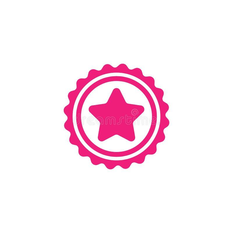 Розовый круг с лентой и розовая звезда Плоский значок стикера Изолировано на белизне Примите кнопку иллюстрация вектора