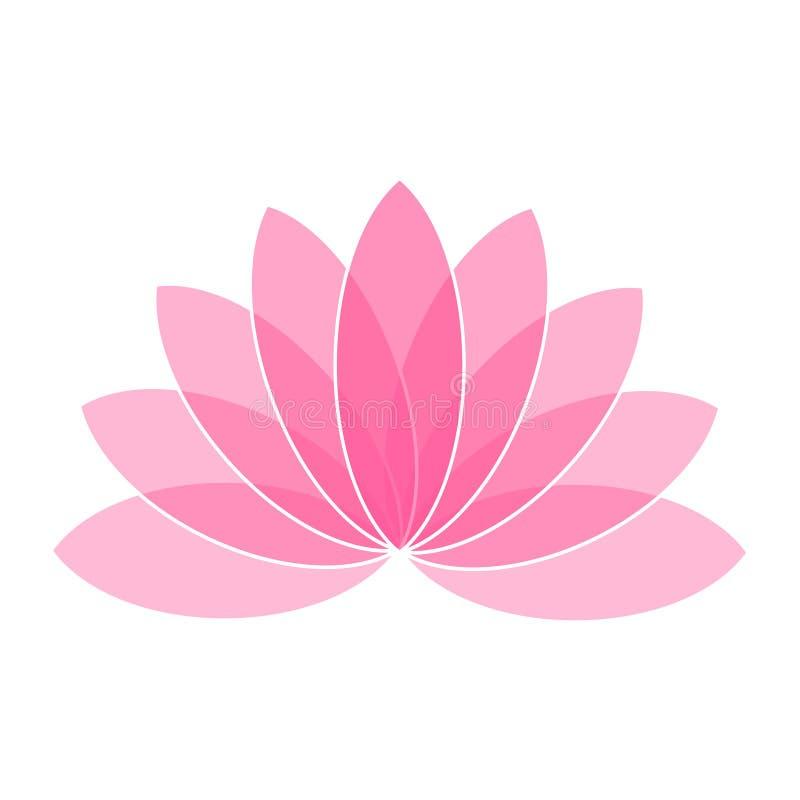 Розовый логотип значка цветка лотоса на белой иллюстрации предпосылки иллюстрация штока