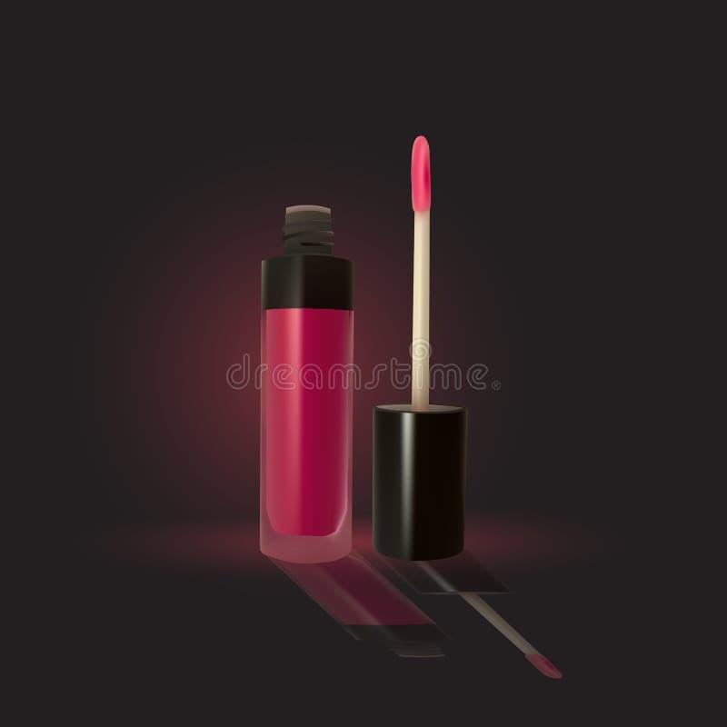 Розовый лоск губы на темной предпосылке бесплатная иллюстрация