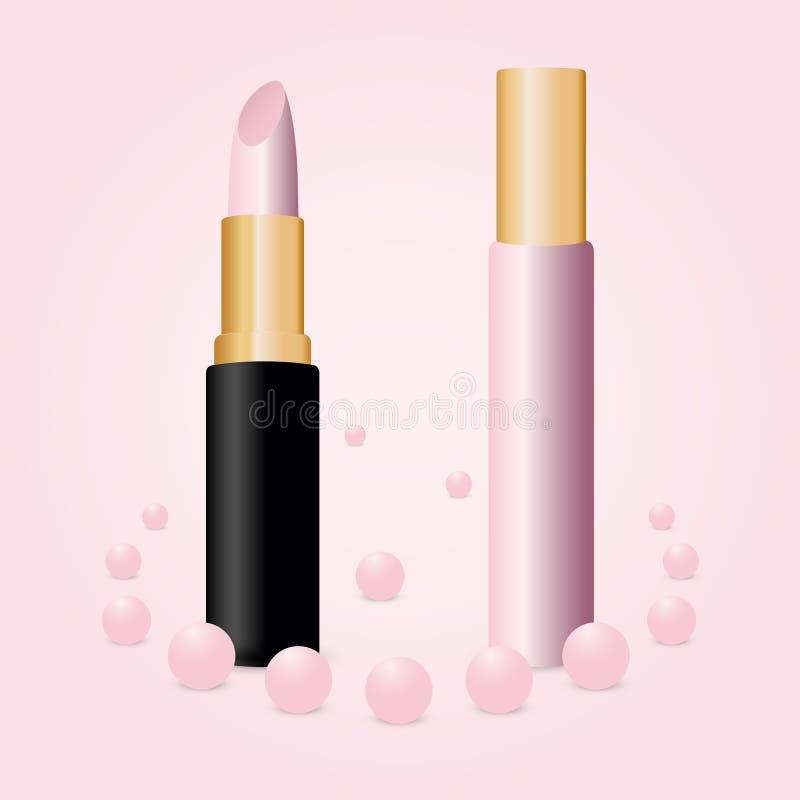 Розовый лоск и губная помада губы изолированные на розовой предпосылке иллюстрация штока