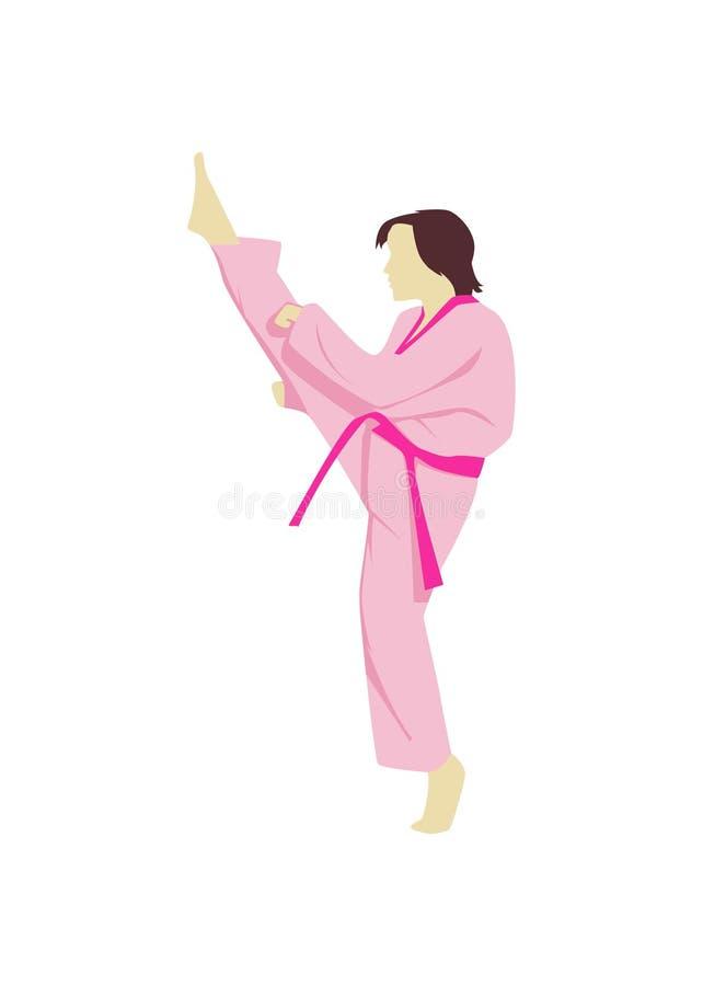 Розовый мультфильм боевых искусств иллюстрация штока