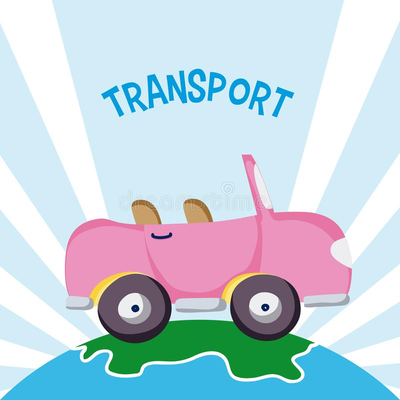 Розовый обратимый автомобиль над землей иллюстрация вектора