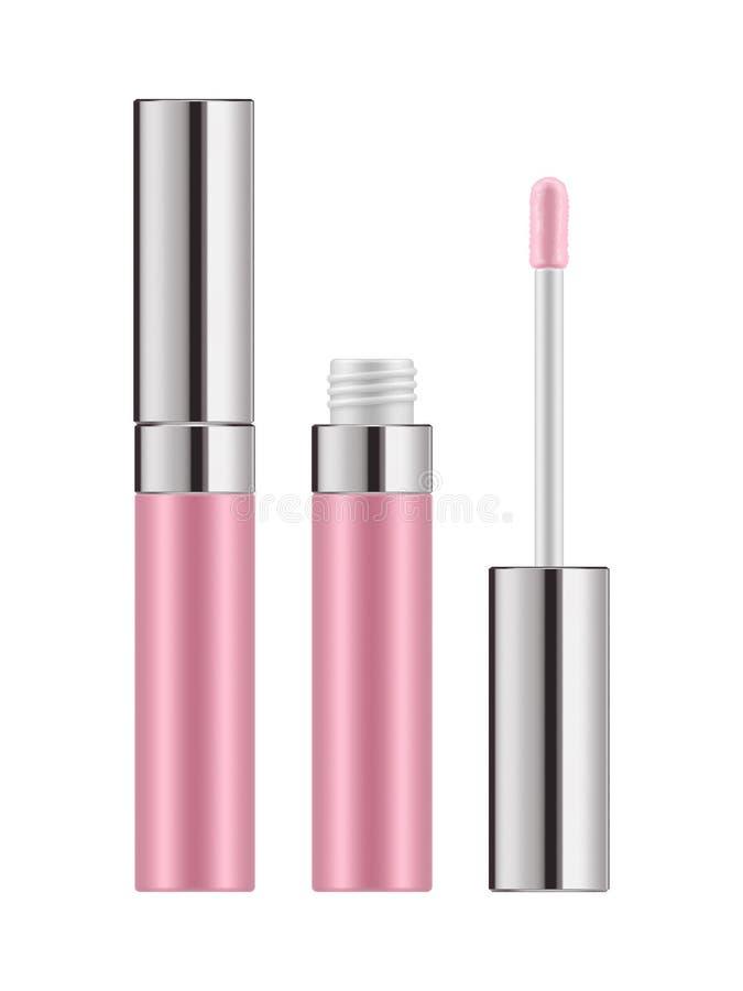 Розовый лоск губы - реалистический пакет иллюстрация вектора