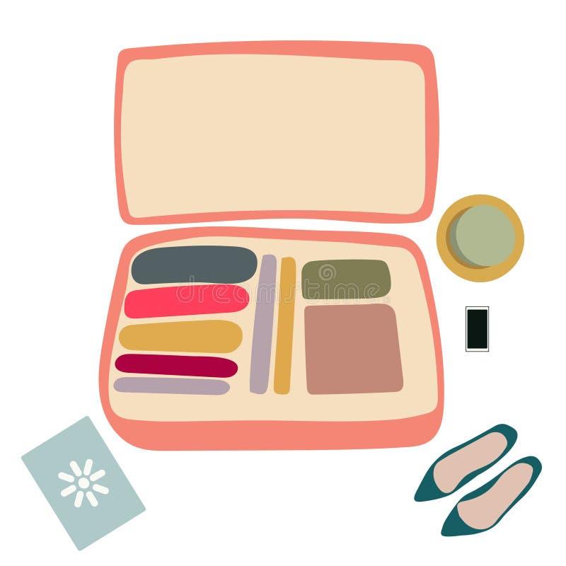 Розовый открытый чемодан с ботинками бесплатная иллюстрация
