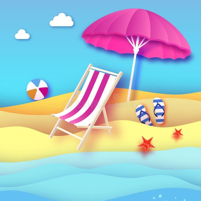Розовый парасоль - зонтик в стиле отрезка бумаги Розовый салон фаэтона Море и пляж Origami Центр событий спорта Ботинки шлоп-шлоп бесплатная иллюстрация
