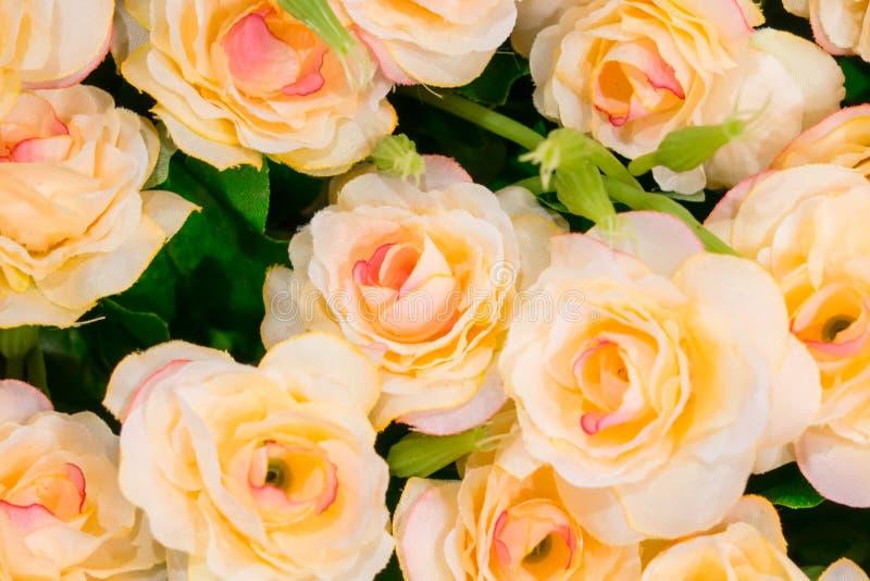 Розовый поддельный цветок и флористическая предпосылка стоковая фотография rf