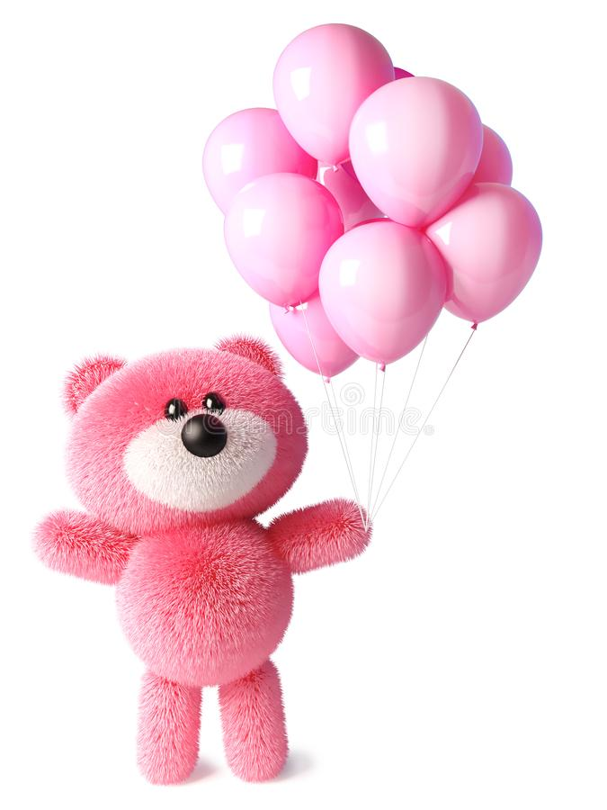 Розовый пушистый характер плюшевого мишки празднует с розовыми воздушными шарами партии, иллюстрацией 3d иллюстрация вектора