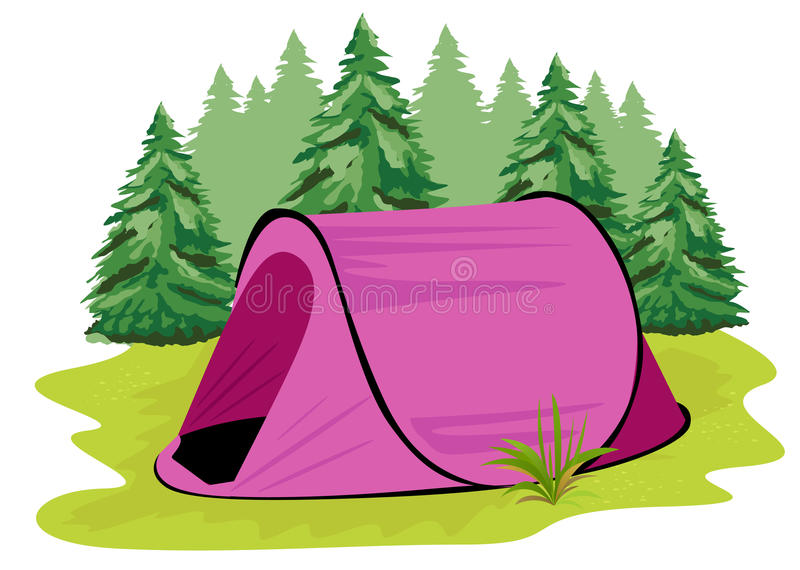 Розовый располагаясь лагерем шатер стоя на glade на предпосылке coniferous леса иллюстрация вектора