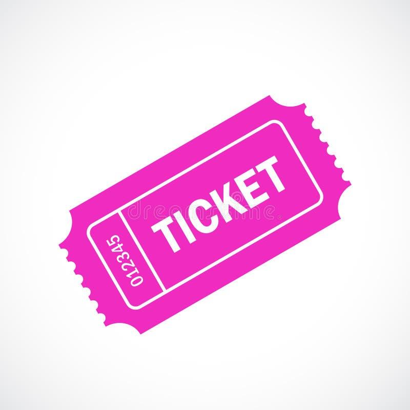 Розовый ретро значок вектора билета иллюстрация вектора