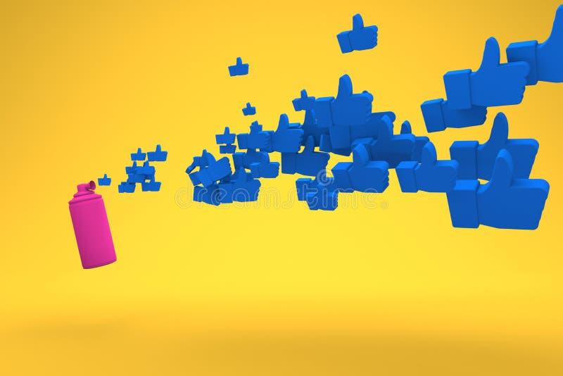 Розовый рожок воздуха дует вне голубые значки с большим пальцем руки вверх на желтой предпосылке Фото концепции любит E иллюстрация штока