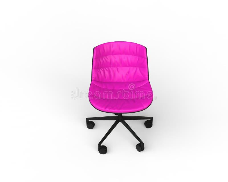 Розовый современный стул офиса на белой предпосылке стоковые фотографии rf