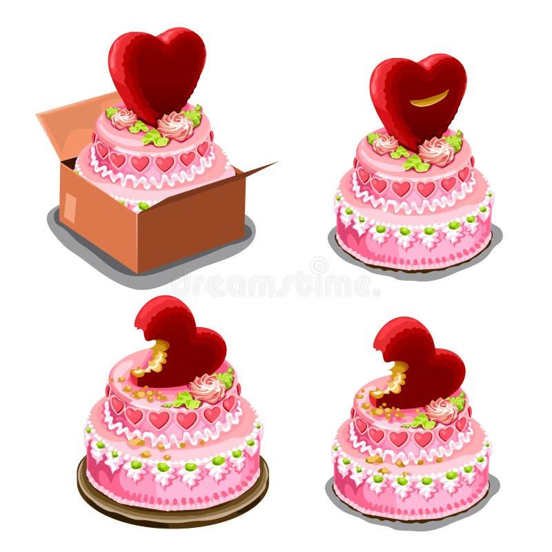 Розовый торт с красными печеньями в форме сердца иллюстрация штока