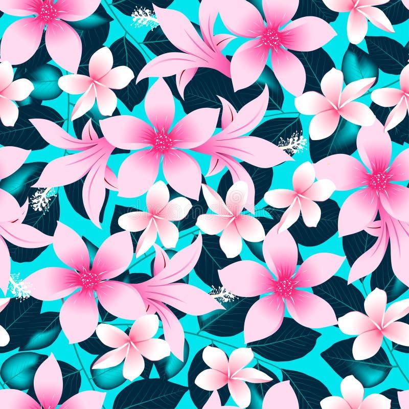 Розовый тропический гибискус цветет с картиной голубых листьев безшовной иллюстрация штока