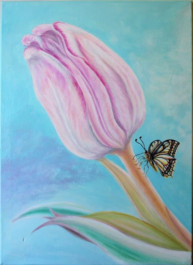 Розовый тюльпан с бабочкой картина Масло на холстине бесплатная иллюстрация