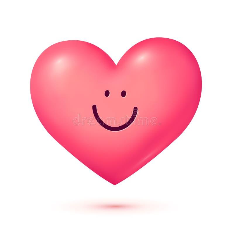 Розовый усмехаясь характер сердца вектора стиля 3D изолированный на белой предпосылке иллюстрация штока