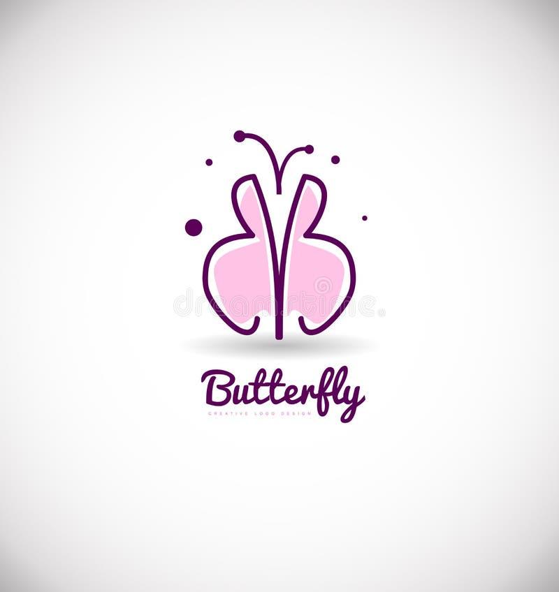 Розовый фиолетовый дизайн значка логотипа бабочки бесплатная иллюстрация