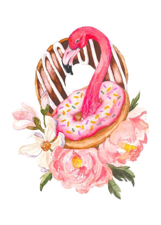 Розовый фламинго и иллюстрация акварели donuts ультрамодная на белой предпосылке Экзотическая предпосылка искусства Сладостная пу иллюстрация вектора