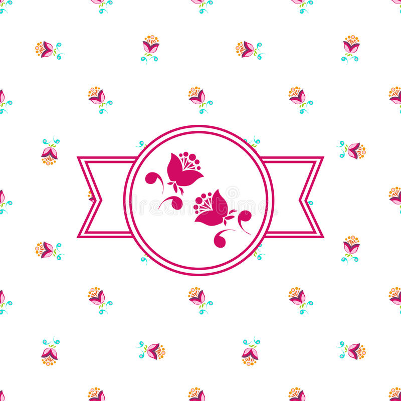 Розовый флористический ярлык стоковые фотографии rf