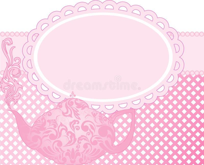 розовый чайник иллюстрация штока