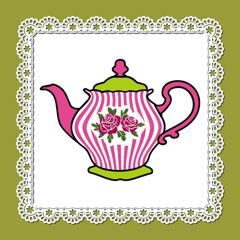 розовый чайник иллюстрация вектора