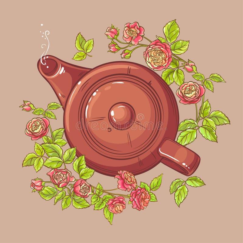 Розовый чай в чайнике иллюстрация штока