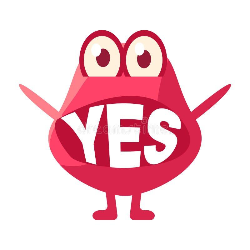 Розовый шарик говоря да, милый характер Emoji с словом в рте вместо зубов, сообщении смайлика бесплатная иллюстрация
