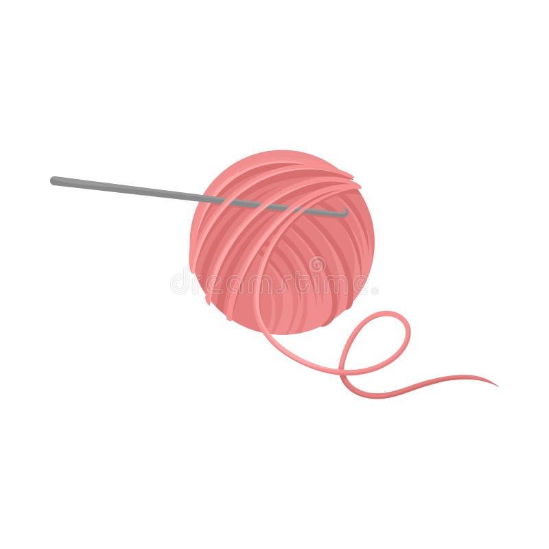 Розовый шарик пряжи шерстей с крюком вязания крючком металла Инструменты для ремесленничества Тема хобби Плоский значок вектора бесплатная иллюстрация