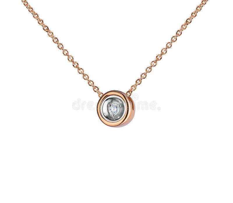 Розовый шкентель золота с огромным диамантом, округлой формой, золотой цепью, изолированной на белизне стоковые фотографии rf