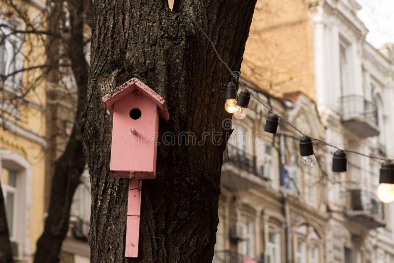 Розовый birdhouse Birdhouse в городе стоковая фотография rf