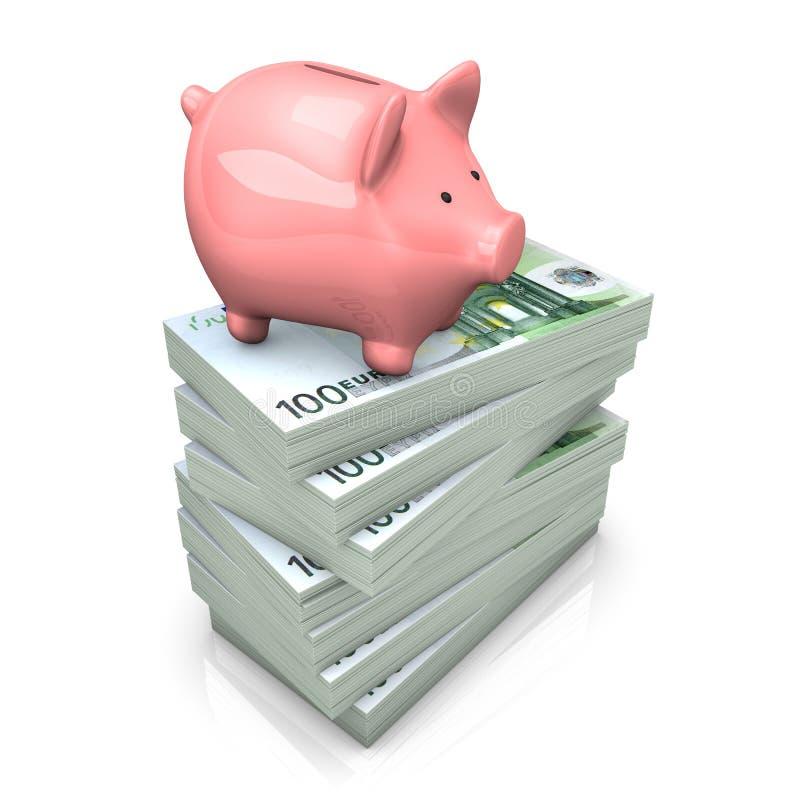 Евро Piggy банка иллюстрация штока