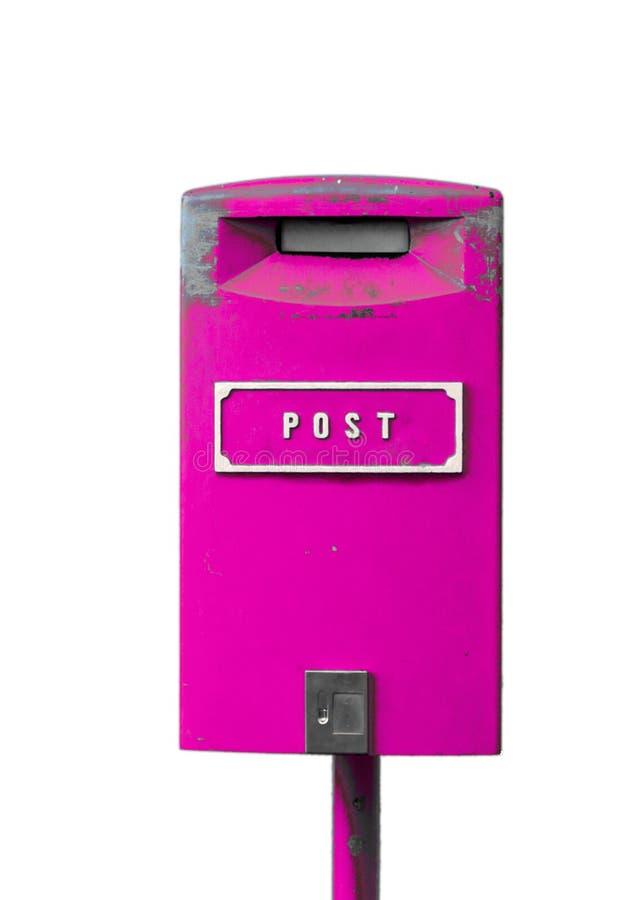 Розовый postbox на белой предпосылке стоковые изображения rf