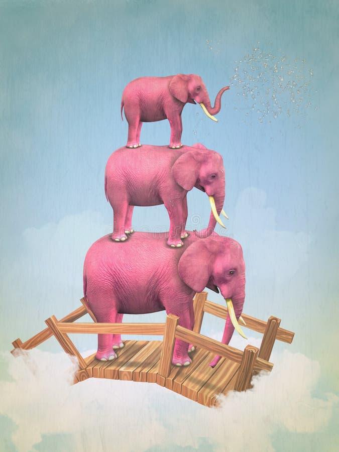 3 розовых слона в небе иллюстрация вектора