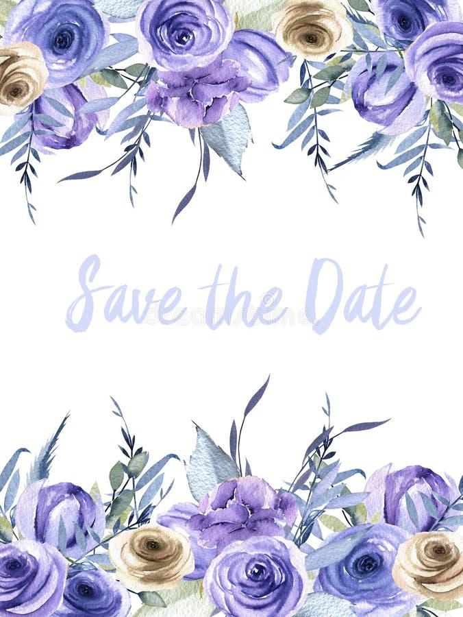 Розы акварели голубые и коричневые и заводы чешут шаблон, сохраняют дизайн карточки даты бесплатная иллюстрация