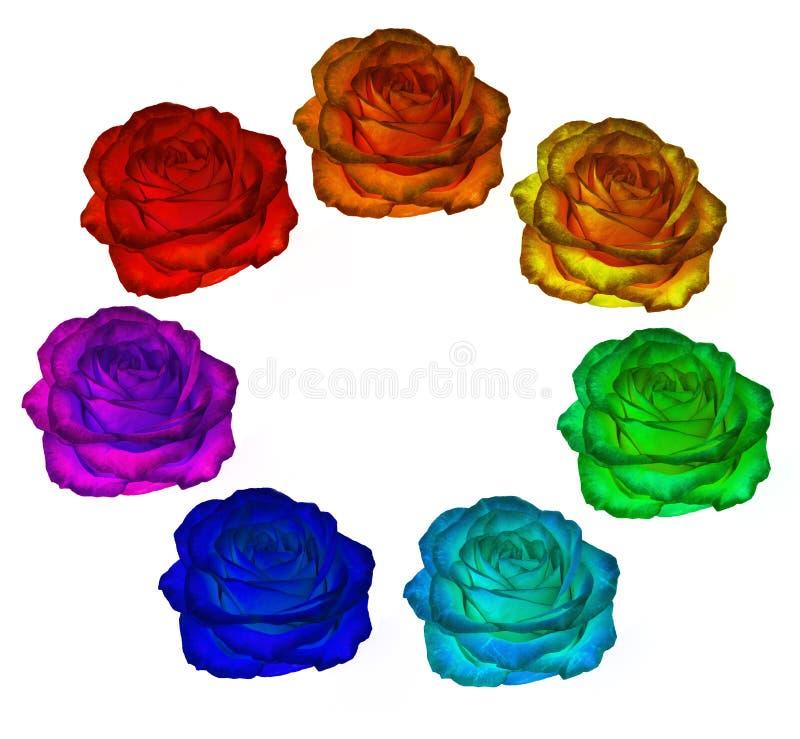 Розы всех цветов радуги на белой предпосылке Clipar иллюстрация вектора