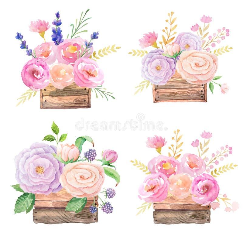 Розы в деревянной коробке иллюстрация вектора