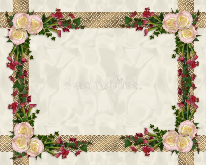 розы граници экзотические флористические розовые иллюстрация вектора