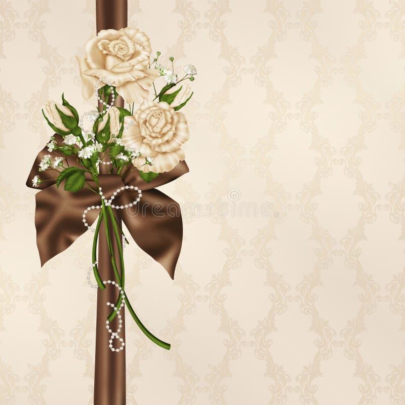 Розы и жемчуга цвета слоновой кости с смычком иллюстрация штока
