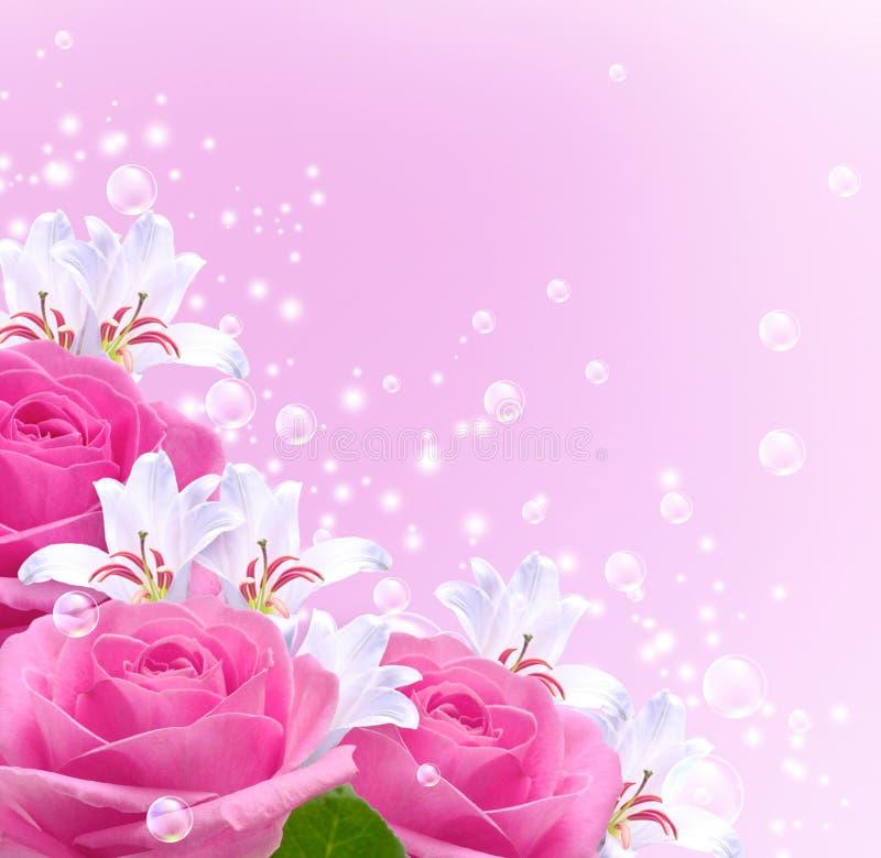 Розы, лилии и пузыри иллюстрация вектора